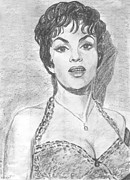 Old Drawings Posters - Gina Lollobrigida Poster by Kate Black