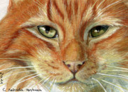 Friend Mixed Media - Ginger Cat aceo by Svetlana Ledneva-Schukina
