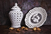 Porcelain Prints - Ginger Jar and Compote Still Life Print by Tom Mc Nemar