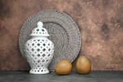 Wicker Framed Prints - Ginger Jar with Pears I Framed Print by Tom Mc Nemar