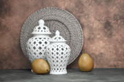 Wicker Framed Prints - Ginger Jar with Pears II Framed Print by Tom Mc Nemar