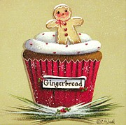 Kitchen Decor Prints - Gingerbread Cookie Cupcake Print by Catherine Holman