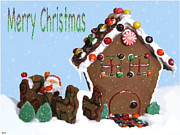 Season For Blessings Card Posters - Gingerbread House Card Poster by Debra     Vatalaro