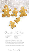 Ginger Prints - Gingerbread men cookies against cookie receipe Print by Sandra Cunningham
