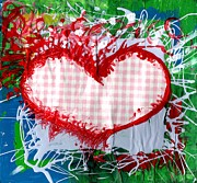 Crazy Painting Framed Prints - Gingham Crazy Heart Framed Print by Genevieve Esson