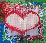 Crazy Painting Framed Prints - Gingham Crazy Heart Shrink Wrapped Framed Print by Genevieve Esson