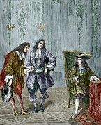  17th C Framed Prints - Giovanni Cassini And King Louis Xiv Framed Print by Sheila Terry