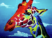 Colorful Animal Paintings - Giraffe - The Air Up There by Alicia VanNoy Call