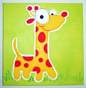 Hanging Pastels Originals - GiRAffE by Mara Morea