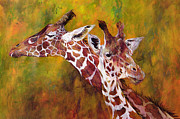 Giraffe Paintings - Giraffe by Odile Kidd