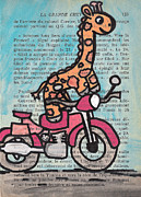 Book Page Framed Prints - Giraffe On A Motorcycle Framed Print by Jera Sky