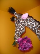 Exotic Soft Sculptures Sculptures - Giraffe with Purple Rose by Cassandra George Sturges