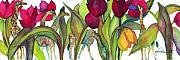 Tulips Paintings - Giraffes by Jan  Porterfield