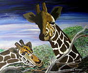 Giraffes Paintings - Giraffes by Jane Williams Clayton
