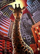 Giraffe Paintings - Giraffes Often Starve in Babylon by Marcus Anderson
