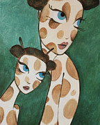 Giraffes Paintings - Girafina and her Sister by Dania Piotti
