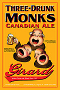 Drunk Drawings Prints - Girard Three Drunk Monks Print by John OBrien