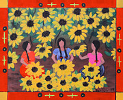 Chicana Mixed Media - Girasoles by Sonia Flores Ruiz