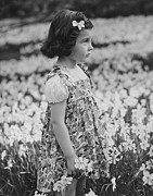 Girl 3 Framed Prints - Girl (3-4) Standing On Blooming Meadow, (b&w) Framed Print by George Marks