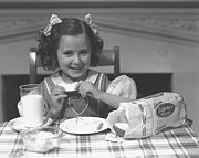 Home Plate Framed Prints - Girl (4-5) Eating Breakfast, (b&w) Framed Print by George Marks