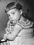 Shoulder Prints - Girl (4-5) Looking Over Shoulder, (b&w), Portrait Print by George Marks