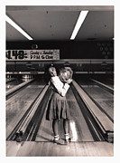Bowling Alley Prints - Girl (7-9) Holding Bowling Ball (toned B&w) Print by Jessie Jean