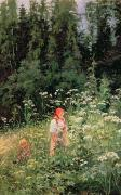 Russia Paintings - Girl among the wild flowers by Olga Antonova Lagoda Shishkina