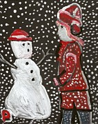 Postal Originals - Girl and a snowman by Peter  McPartlin