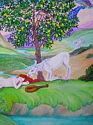 Extinct And Mythical Pastels Originals - Girl and lemon tree  by Diane Sellers
