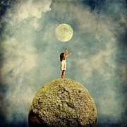 Sonya Kanelstrand Metal Prints - Girl and the moon Metal Print by Sonya Kanelstrand
