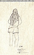 Rear View Drawings - Girl at Fifth Dimension Concert in Park by Sheri Parris