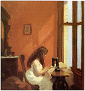 Fine American Art Posters - Girl at Sewing Machine Poster by Edward Hopper