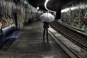 Umbrella Prints - Girl At Subway Station Print by Joana Kruse