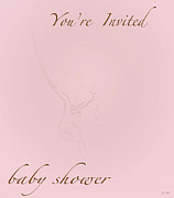 Shower Digital Art - Girl Baby Shower Card by Debra     Vatalaro