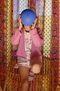 Pajamas Prints - Girl blowing up balloon Print by Sami Sarkis