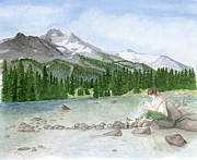 Pacific Crest Trail Prints - Girl by Lake Print by Caroline Moses