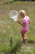 Collects Photo Framed Prints - Girl Collecting Insects In A Meadow Framed Print by Ted Kinsman