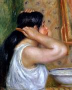 Girl Framed Prints - Girl Combing her Hair Framed Print by Pierre Auguste Renoir