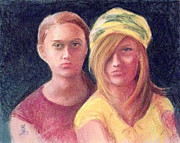 Young Woman Pastels Prints - Girl Friends Print by Yoshiko Mishina