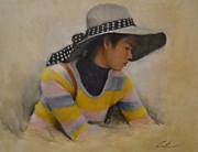 Southeast Asia Paintings - Girl from Cambodia by Phil Couture