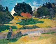 Pig Paintings - Girl Herding Pigs by Paul Gauguin