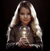 Talented Prints - Girl Holding A Lightbulb Print by Kevin Curtis