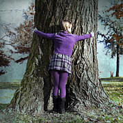 Dress Posters - Girl Hugging Tree Trunk Poster by Joana Kruse