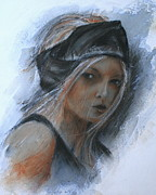 Single Pastels Posters - Girl in a Black Band Poster by Almeta LENNON