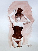 Suspenders Posters - Girl in a Corset Poster by Maty Dio