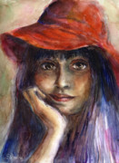 Young Woman Drawings Framed Prints - Girl in a red hat portrait Framed Print by Svetlana Novikova