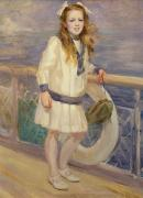 Railings Framed Prints - Girl in a Sailor Suit Framed Print by Charles Sims