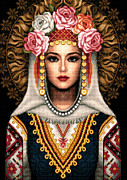 Woman Tapestries - Textiles Prints - Girl in Bulgarian national costume Print by Stoyanka Ivanova