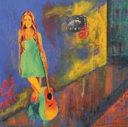 60s Mixed Media - Girl In Green Dress by Almeta LENNON
