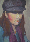 Larger Paintings - Girl in Hat by Jennifer Hall